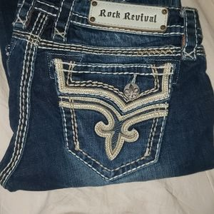 Distressed rock revival jeans